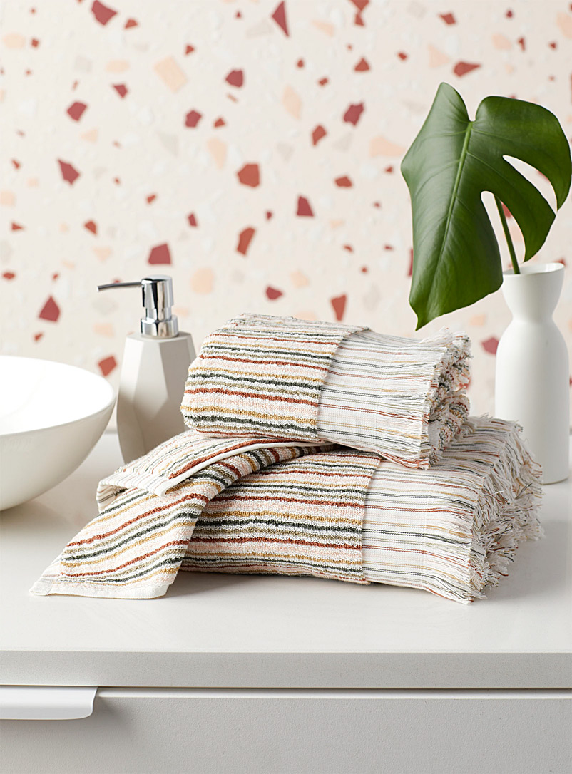 Earthy-stripe organic cotton towels