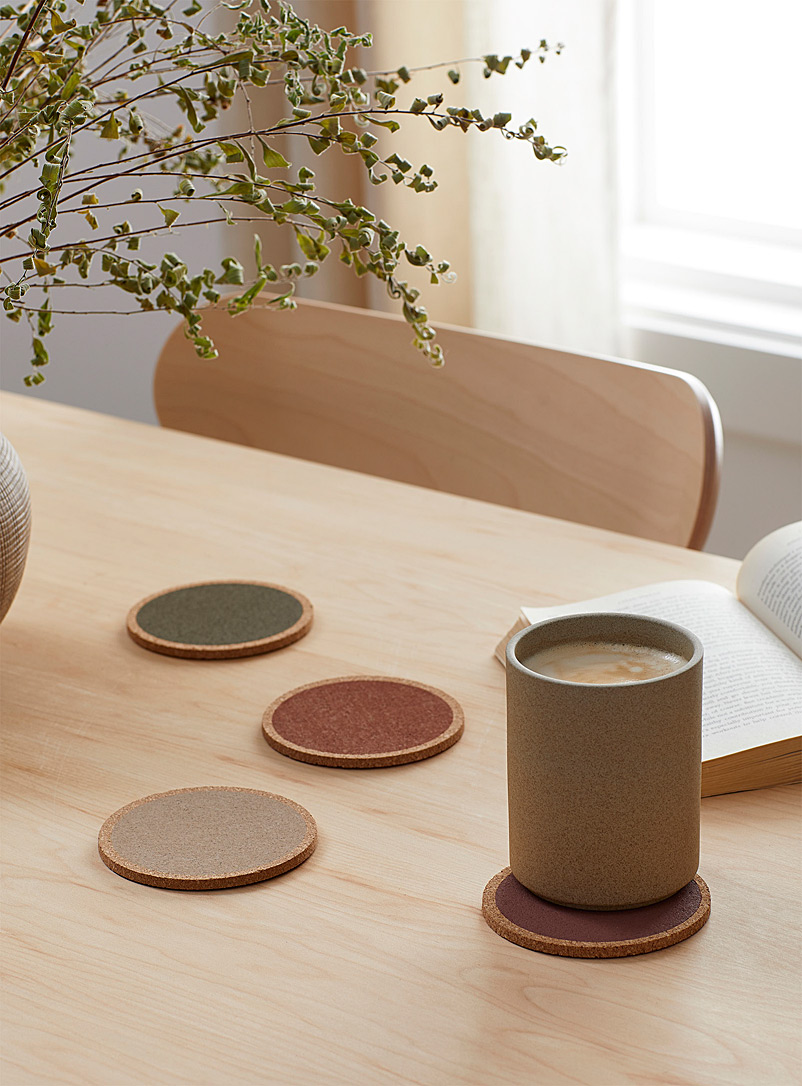Warm tone cork coasters  Set of 4