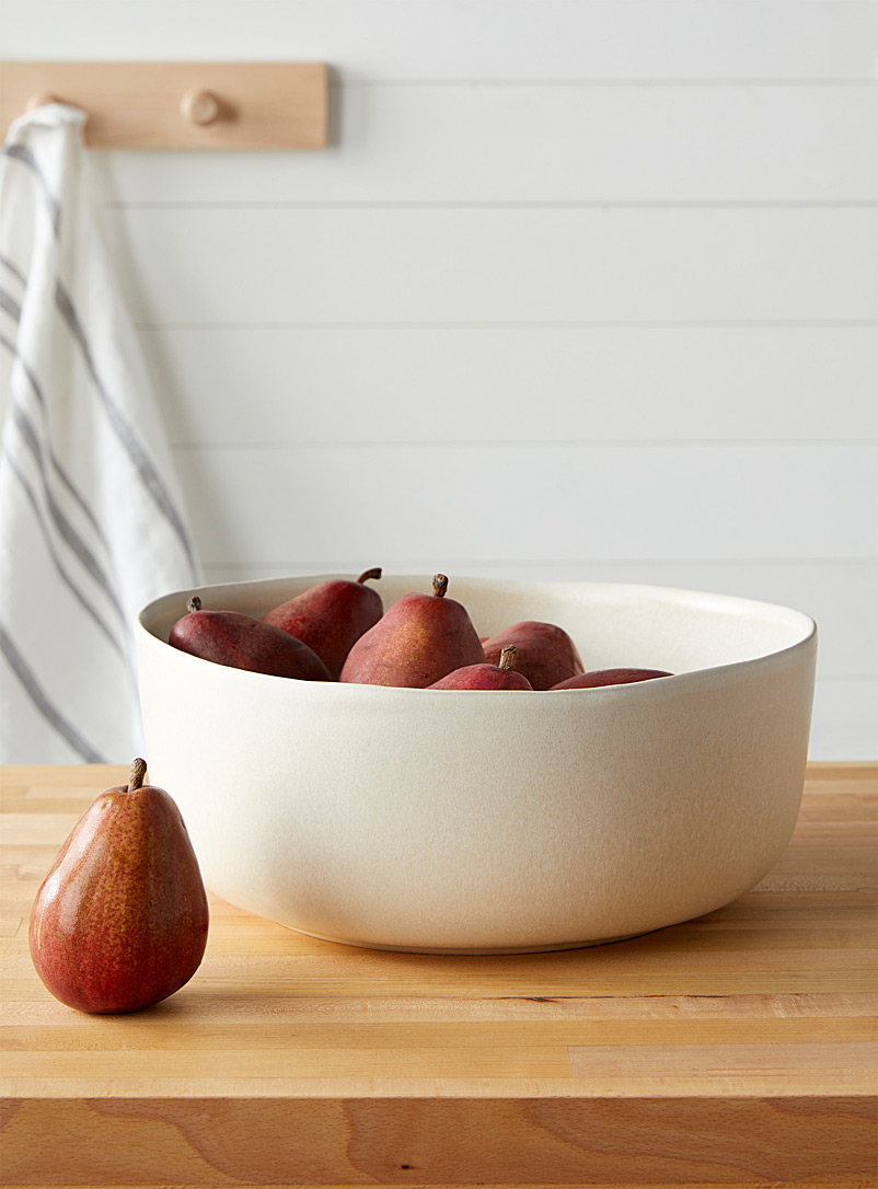 Citta Design Ivory White Stoneware artisanal serving bowl