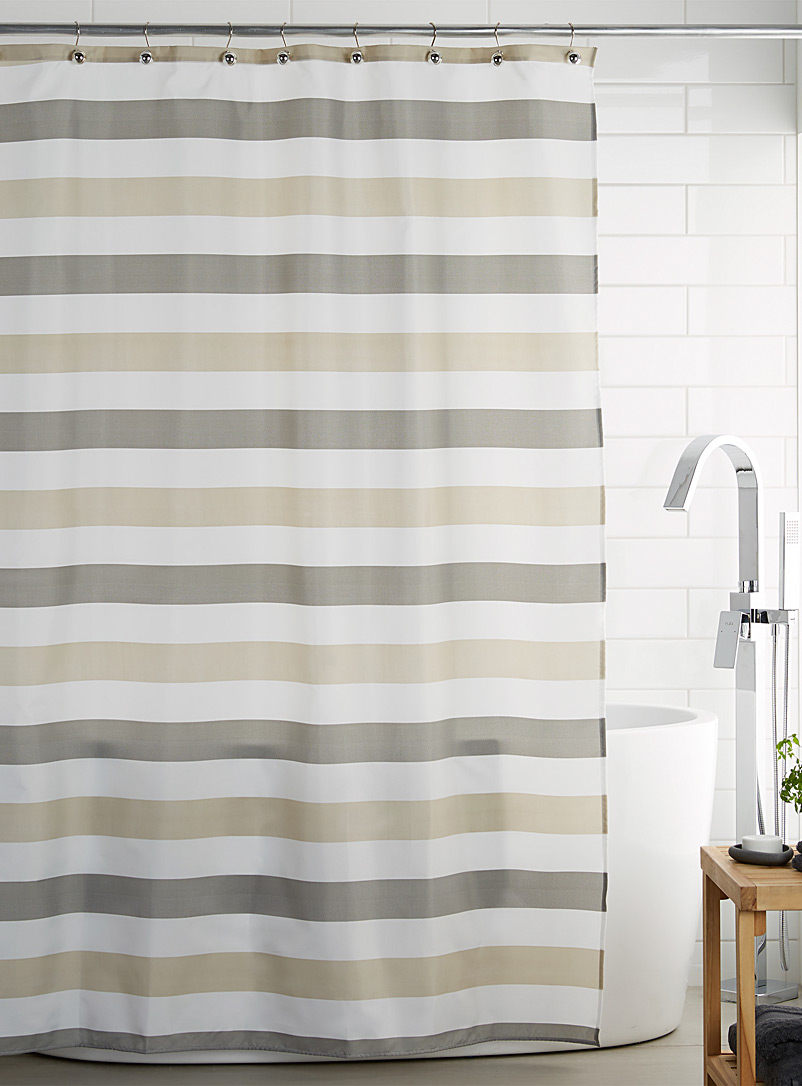 Chevron stripe shower curtain - Fabric - White