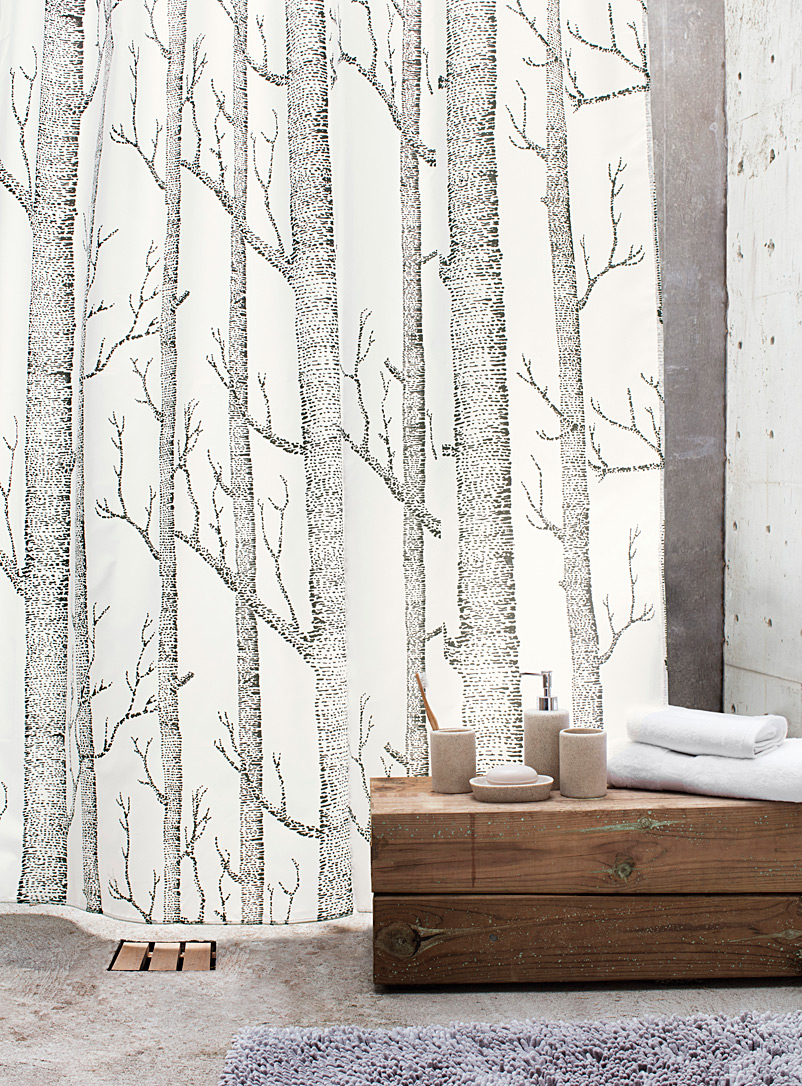 Nordic Forest Shower Curtain   Fabric   White