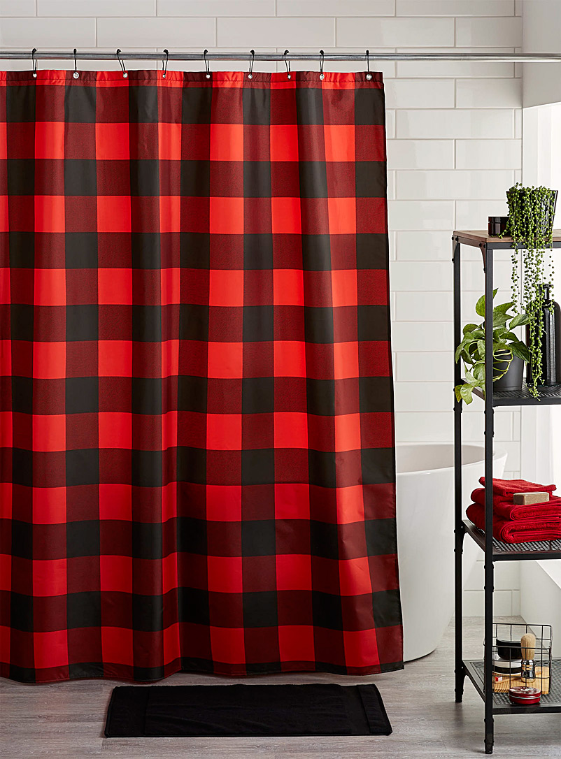 Buffalo check shower curtain - Fabric - Red