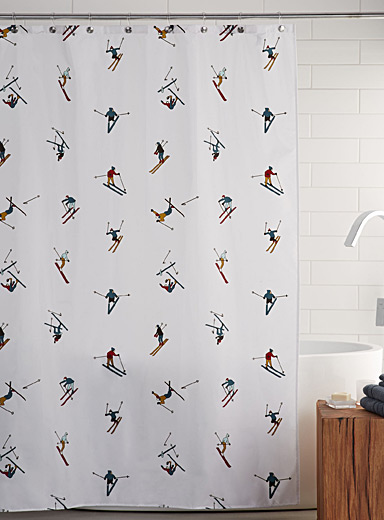 Skiers shower curtain