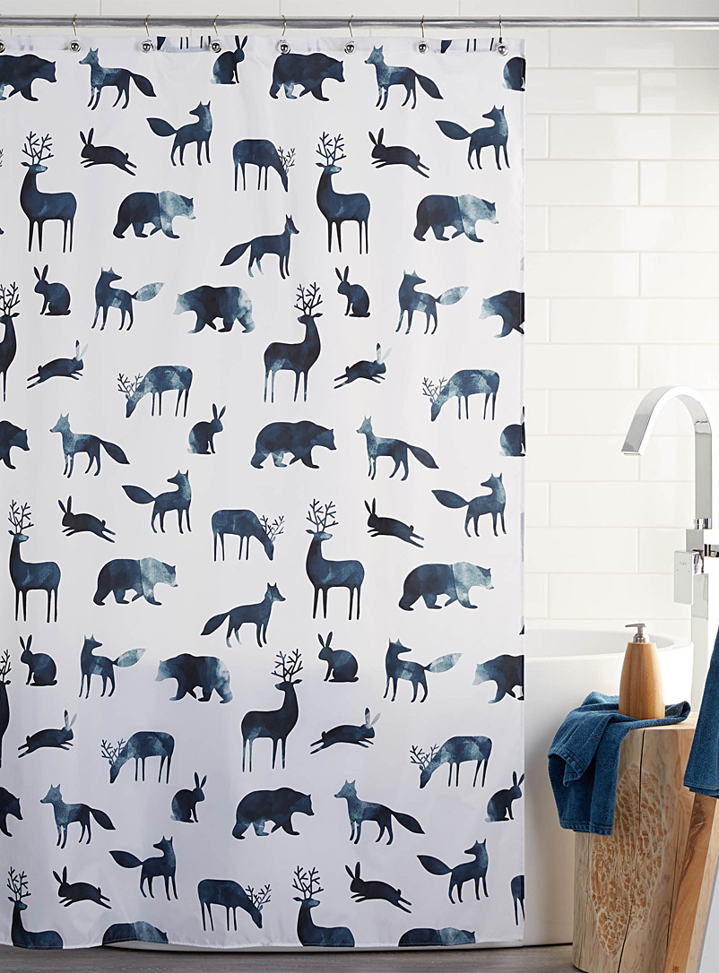 Simons Maison Dark Blue Painterly animals shower curtain