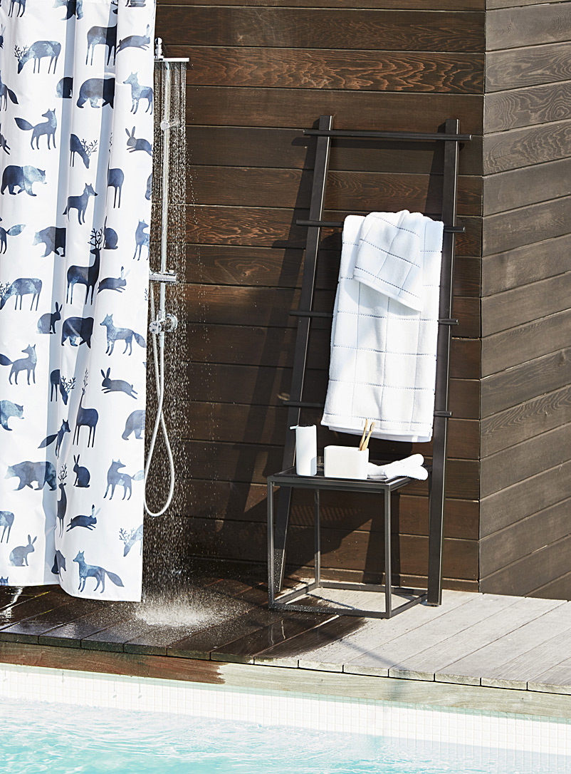 Painterly animals shower curtain - Fabric - Dark Blue
