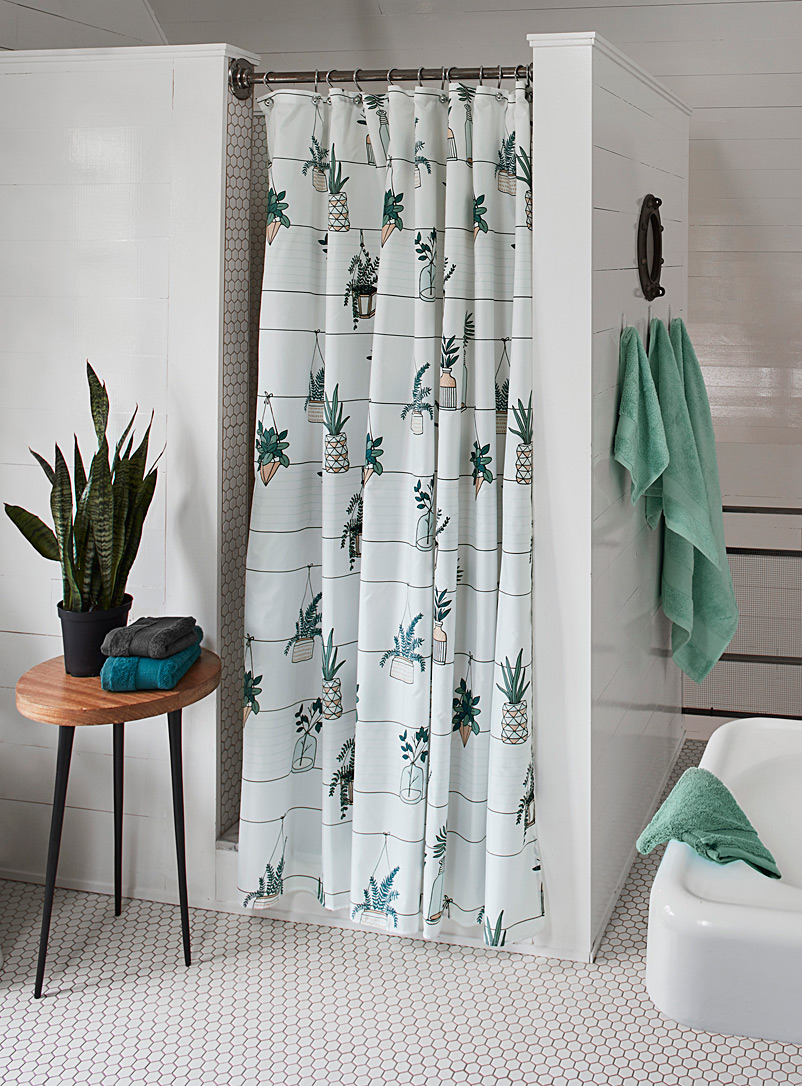 Hanging plants shower curtain - Fabric - Assorted
