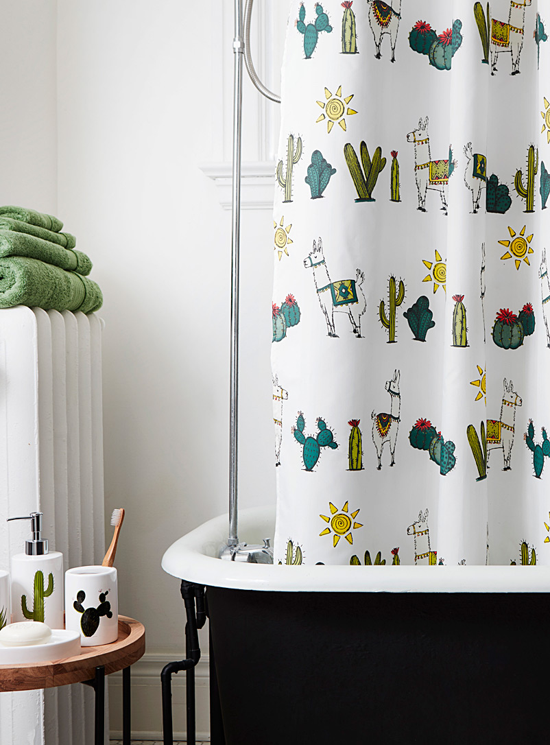 Desert llamas shower curtain - Fabric - Patterned White