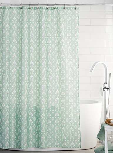Decorative foliage shower curtain