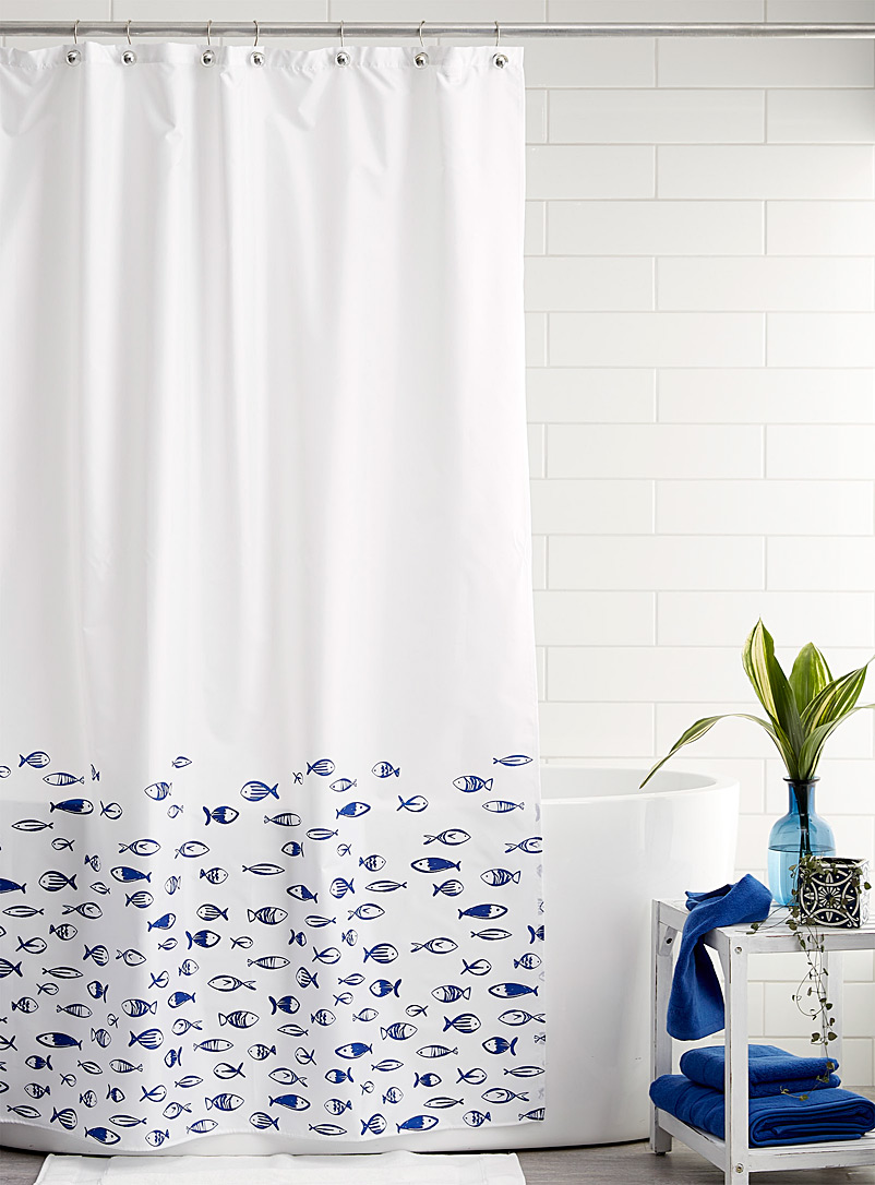 Simons Maison Dark Blue School of fish shower curtain