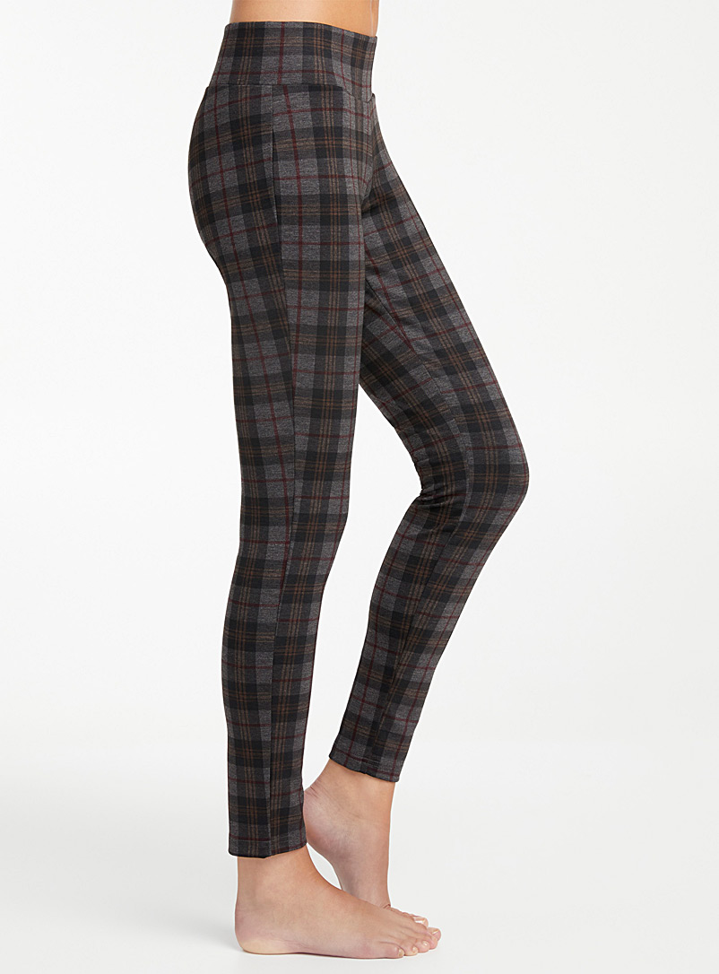 MeMoi Grey Check slimming legging for women