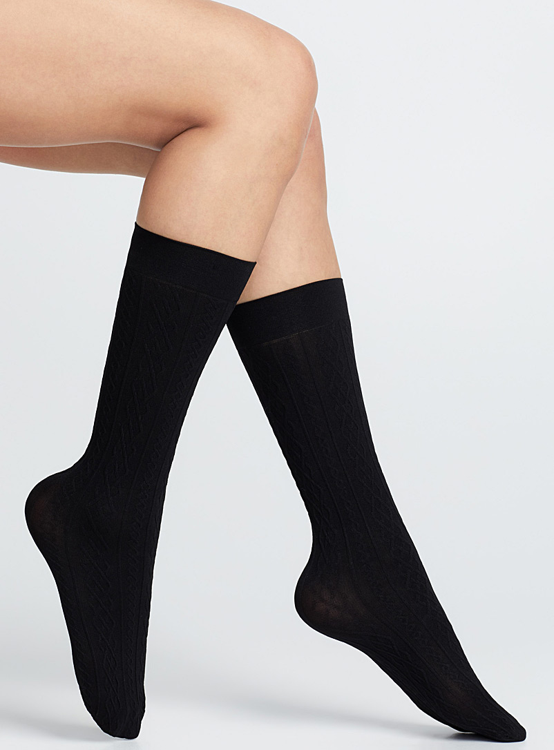 MeMoi Black Dark knee-highs  Set of 3 for women