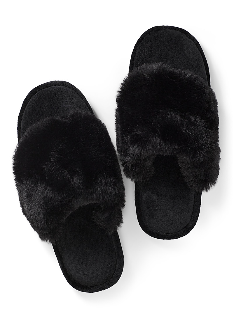 Black mule slippers