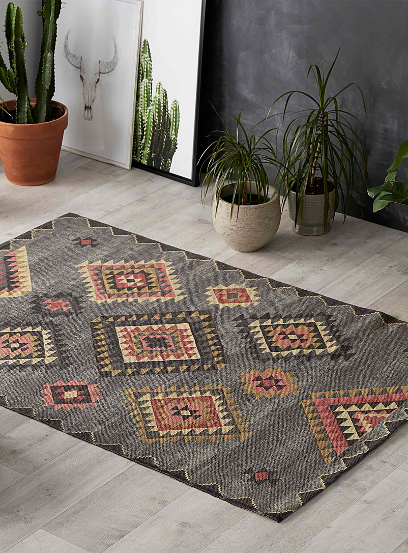 Simons Maison Patterned Grey Accent-pink kilim rug  120 x 180 cm