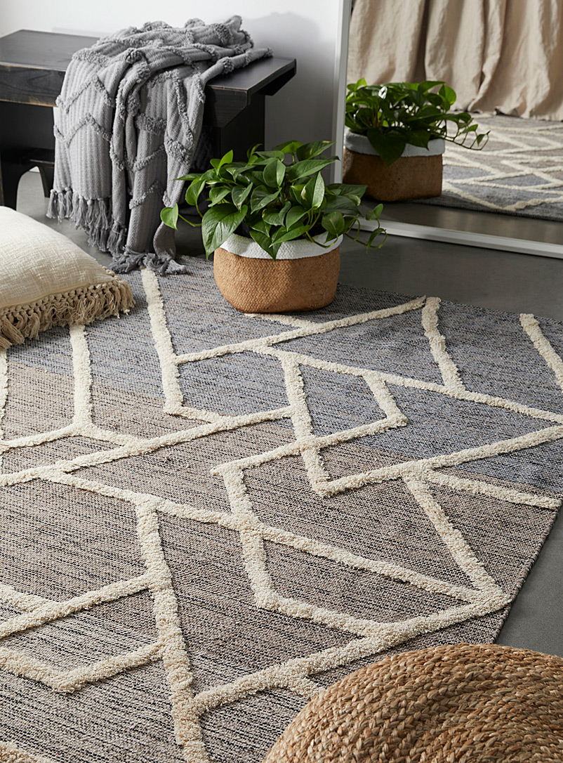Simons Maison Patterned Grey Colour block geo rug  120 x 180 cm