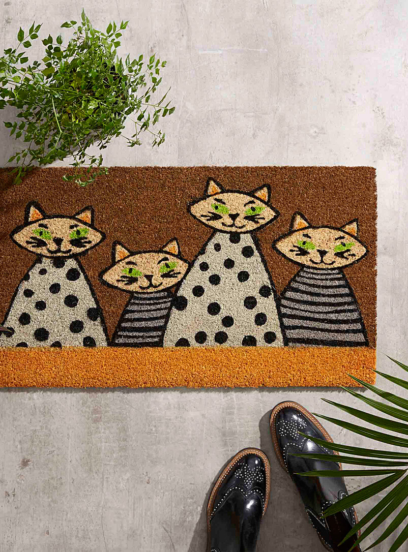 Cute cats door mat  40 x 70 cm - Door Mats & Outdoor Rugs - Patterned Yellow