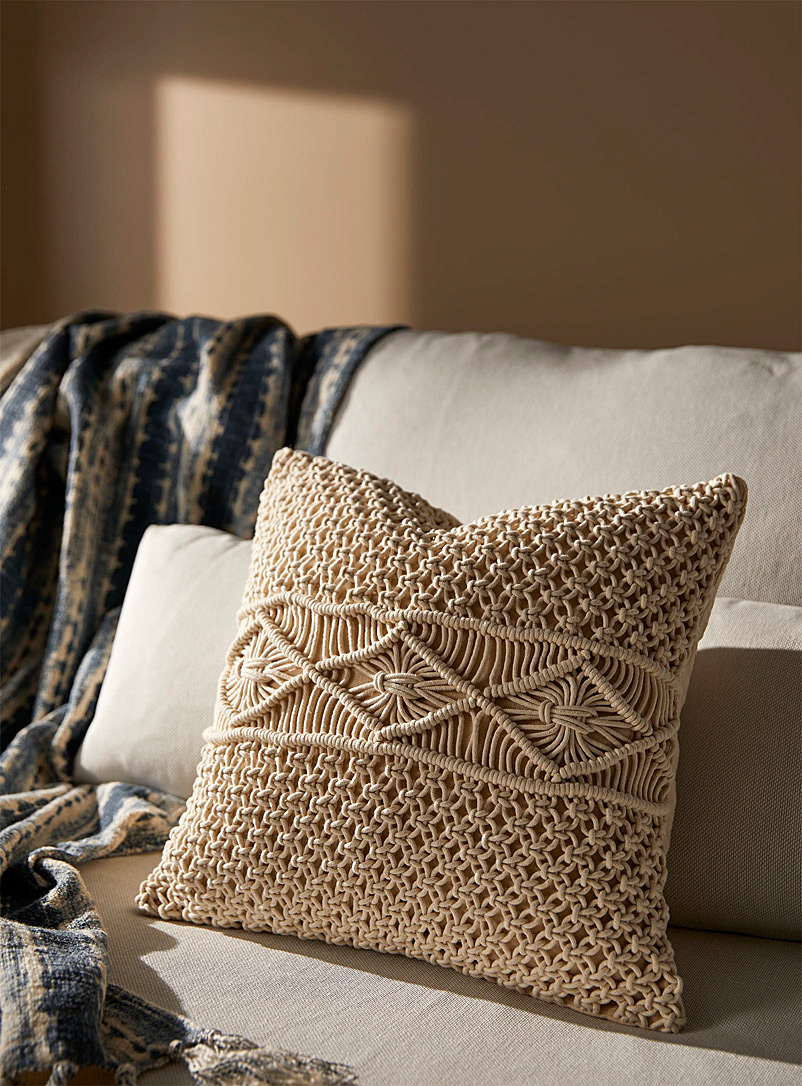 Crochet knit cushion  45 x 45 cm - Solid - Ivory White