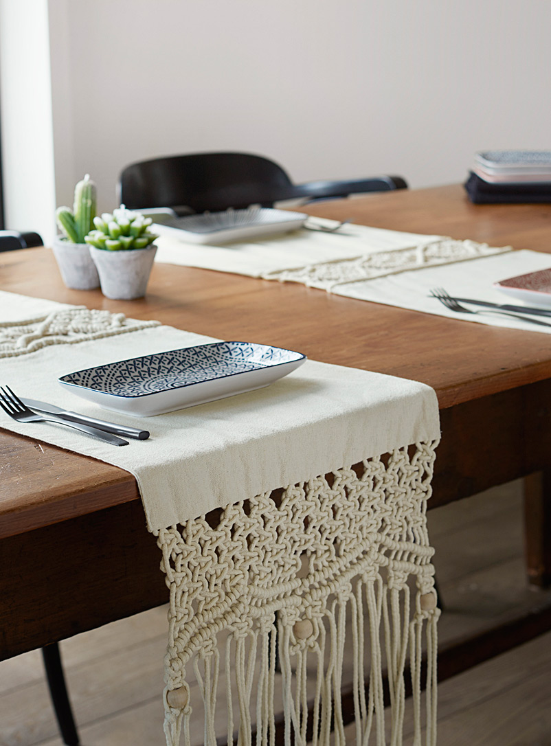 Simons Maison Cream Beige Boho macramé table runner 3 sizes available