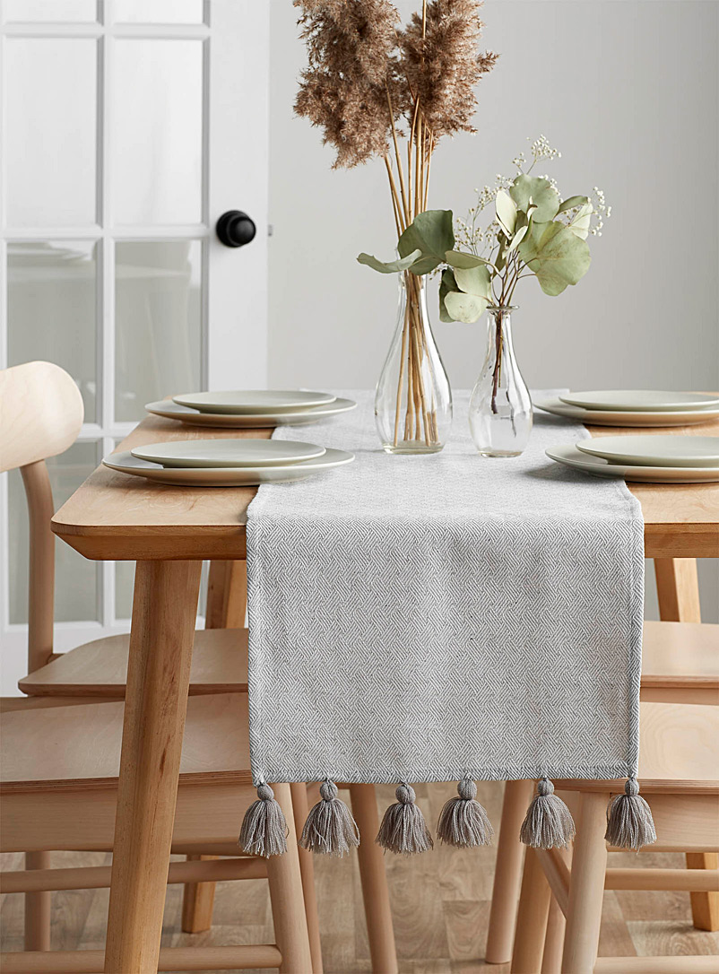 Grey tassel table runner 3 sizes available