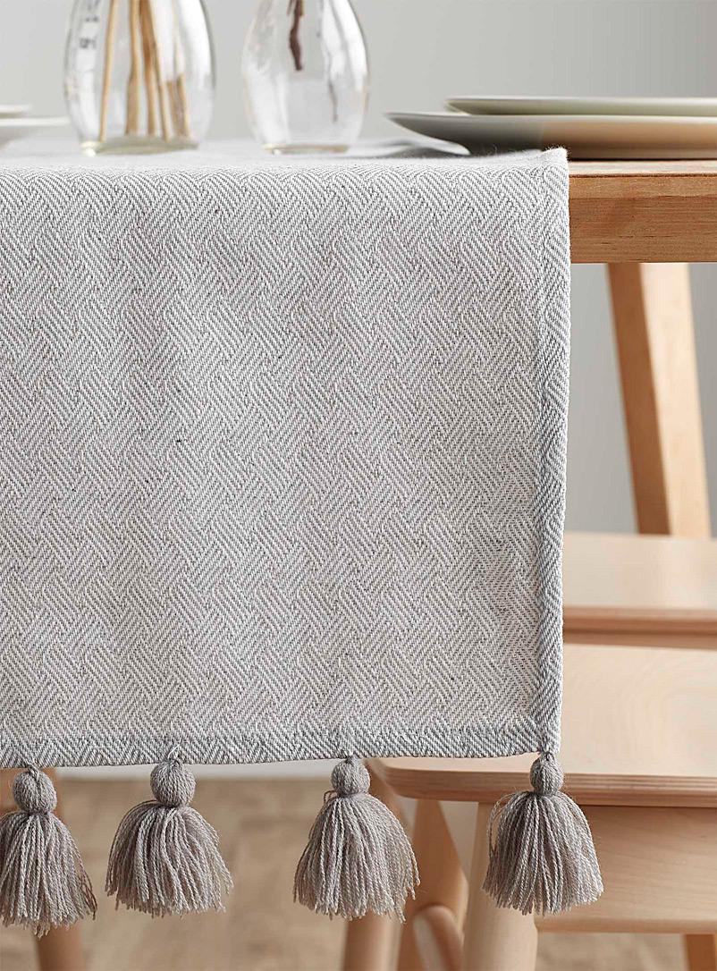 Grey tassel table runner  14&quote; x 72&quote; - Centerpieces & Table Runners - Grey