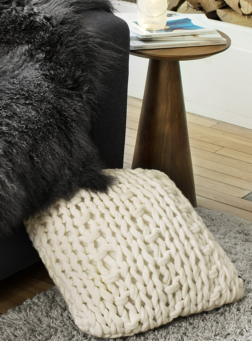 Chunky knit cushion  45 x 45cm - Solid - Ivory White