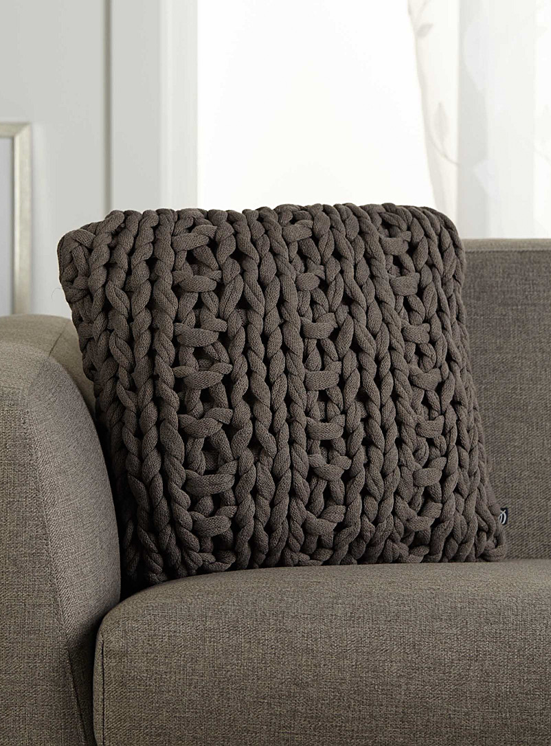 Chunky knit cushion  45 x 45 cm - Solid - Grey