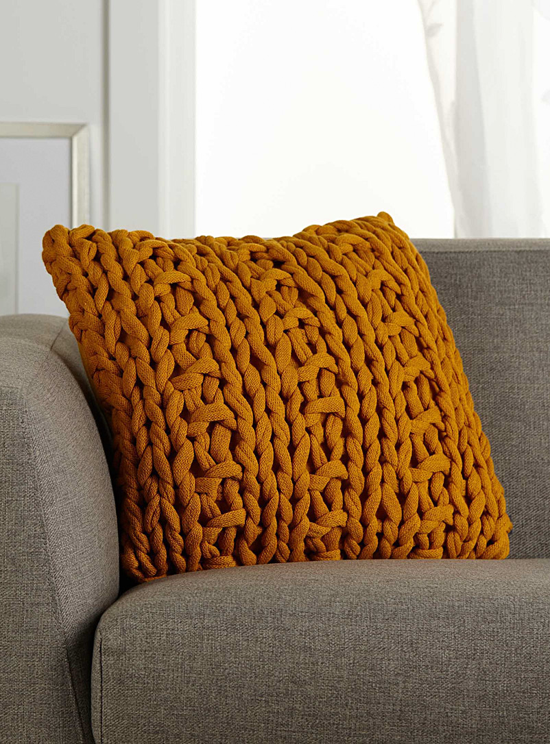 Chunky knit cushion  45 x 45cm - Solid - Golden Yellow