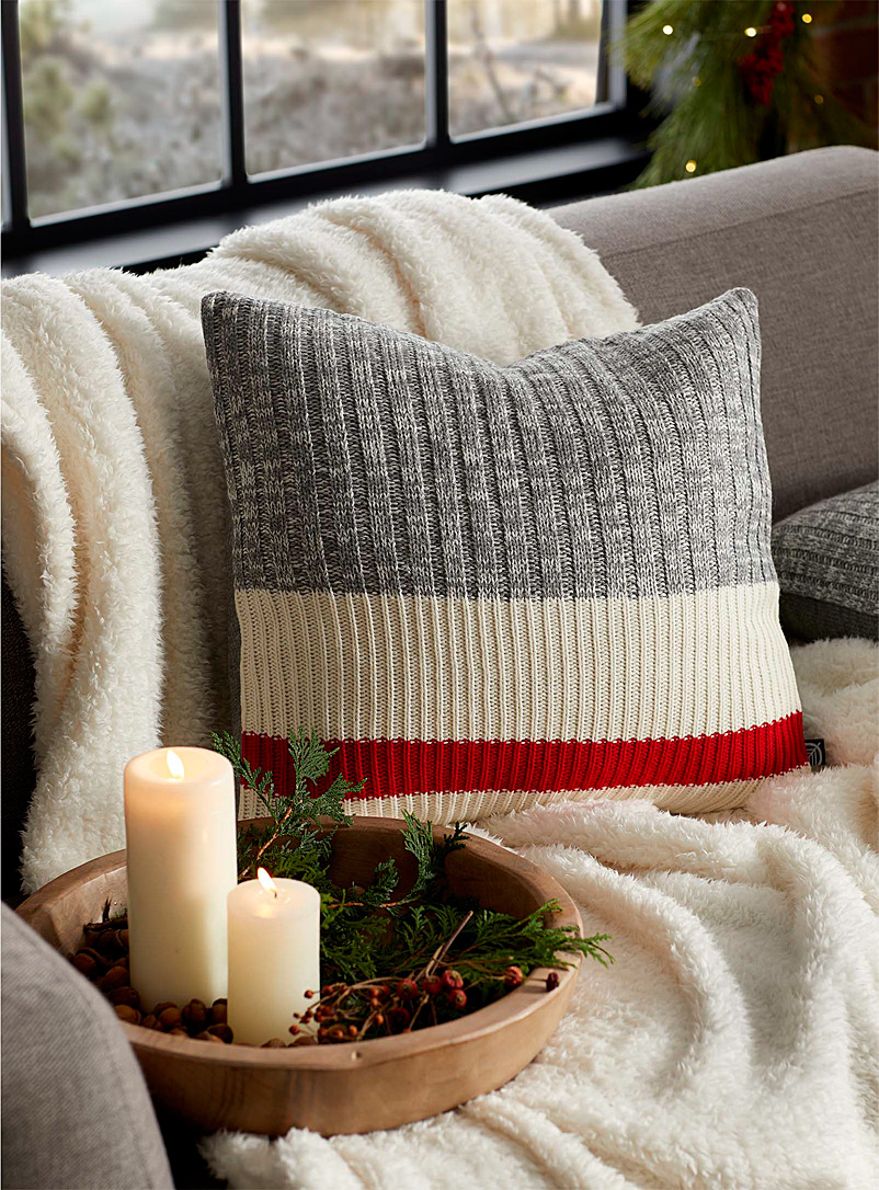 Simons Maison Red Wool-sock stripe cushion  45 x 45 cm