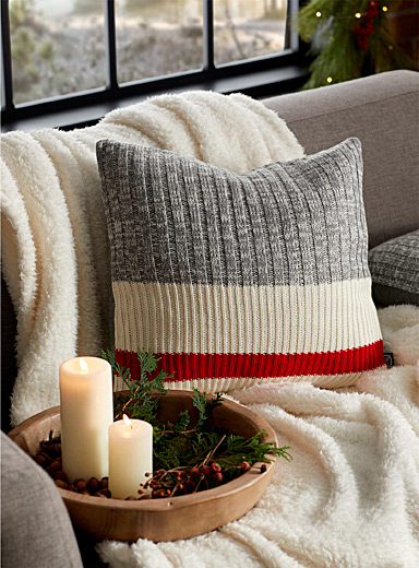 Wool-sock stripe cushion  45 x 45 cm