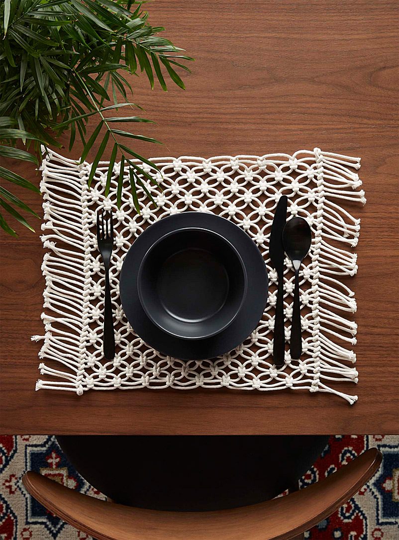 Macramé placemat - Fabric - Ivory White