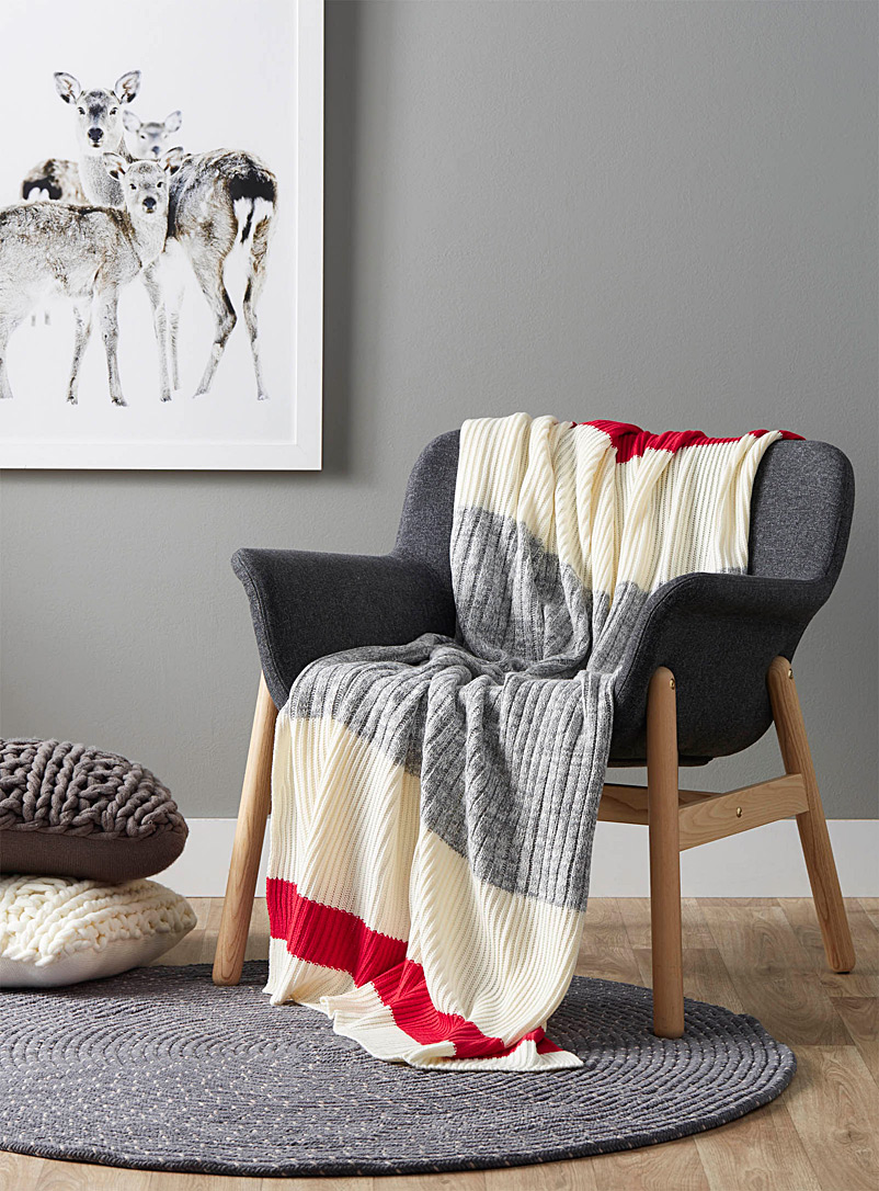Wool-sock stripe throw  130 x 150 cm