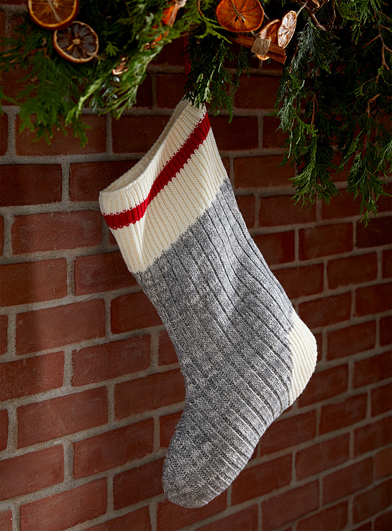 Wool sock-stripe Christmas stocking - Stylish Objects & Decor Accents - Red