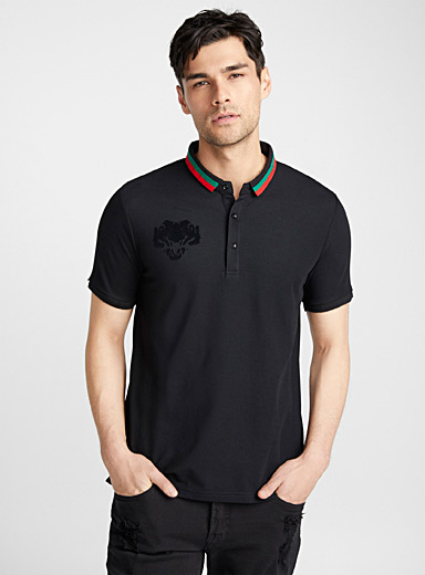 Accent striped collar polo