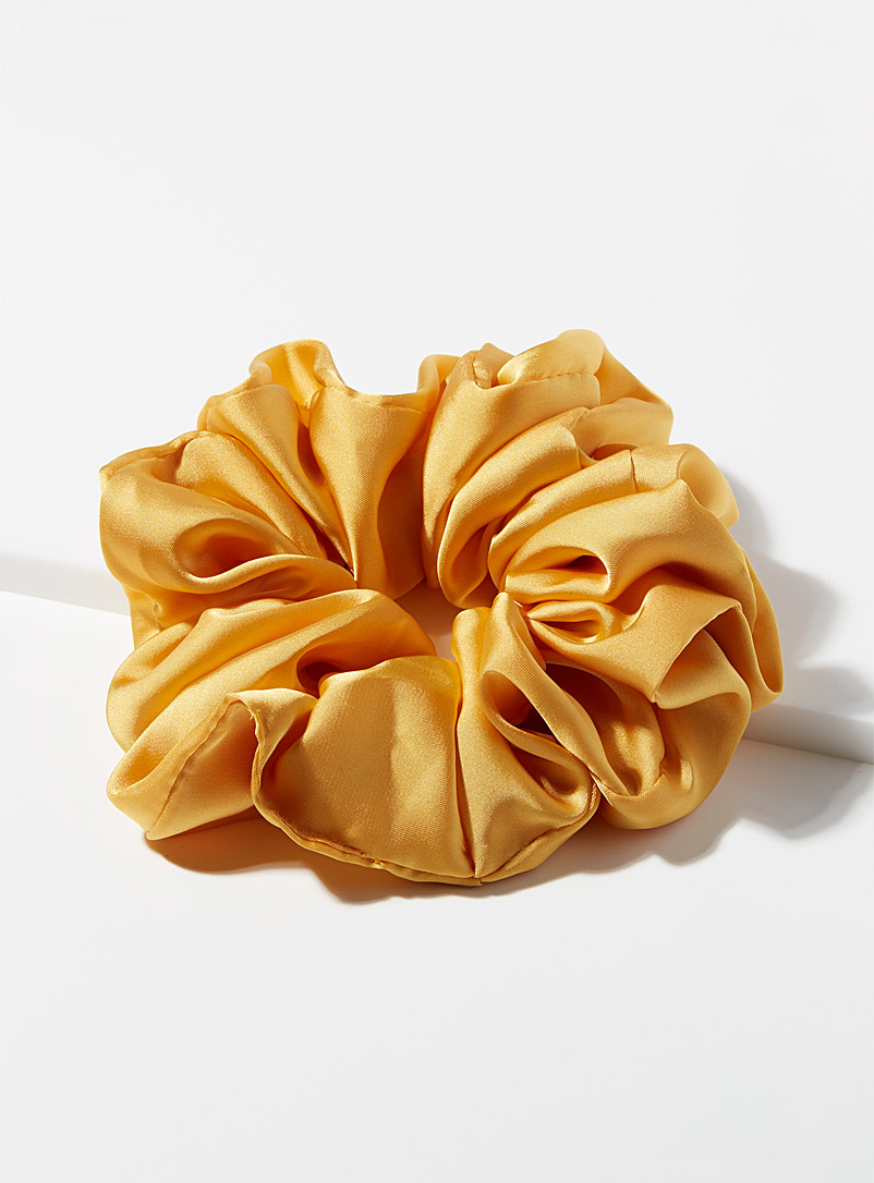 Simons Dark Yellow Extra large satiny scrunchie for women