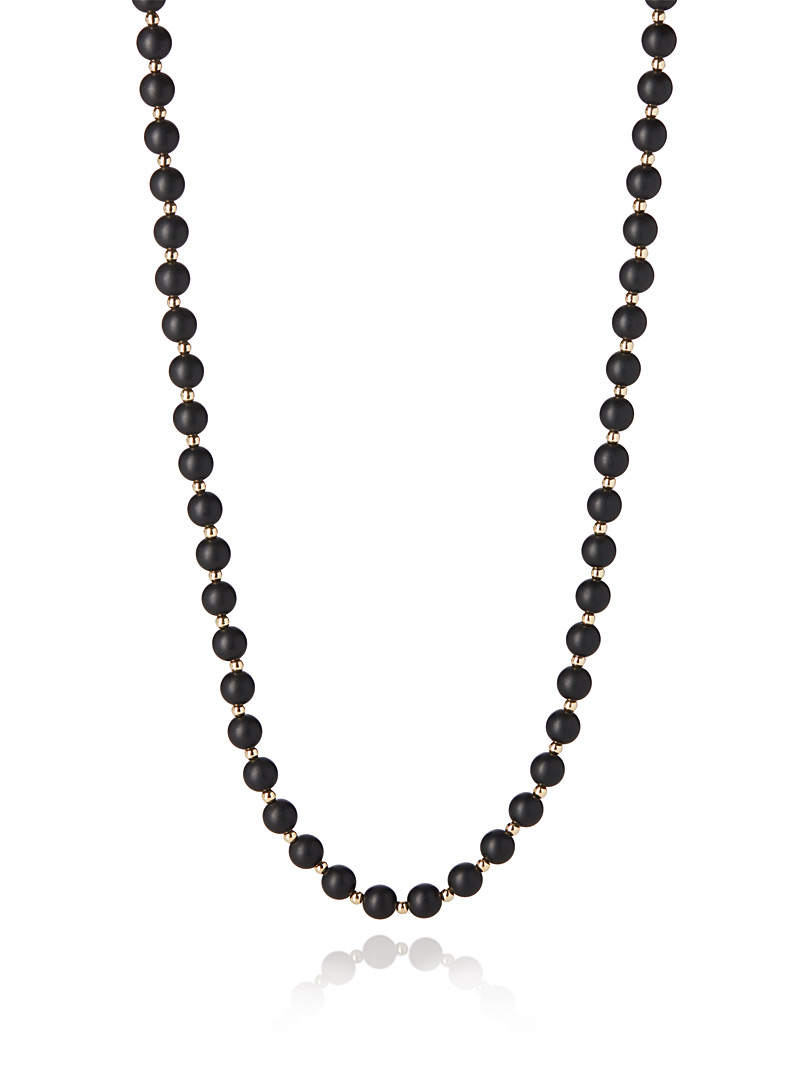Two-tone bead necklace - Necklaces - Black
