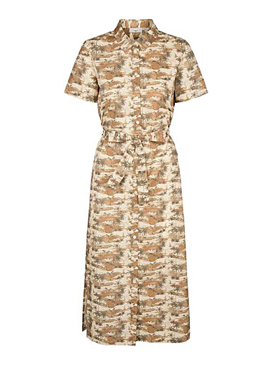 Minimum Patterned Brown Tropical camo midi dress for women