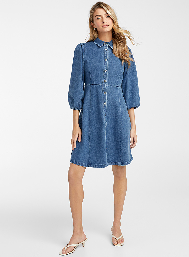 Minimum Dark Blue Puff sleeve jean dress for women