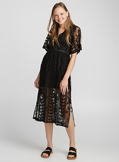 Boho embroidery tulle dress