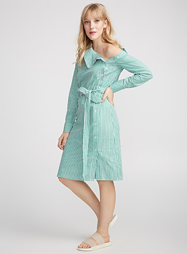 Reconstructed striped shirtdress