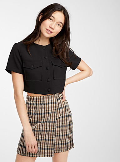 Cropped embossed utility blouse