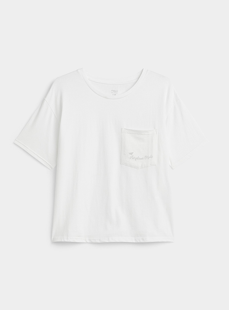 Miiyu x Twik White Organic cotton embroidered pocket tee for women
