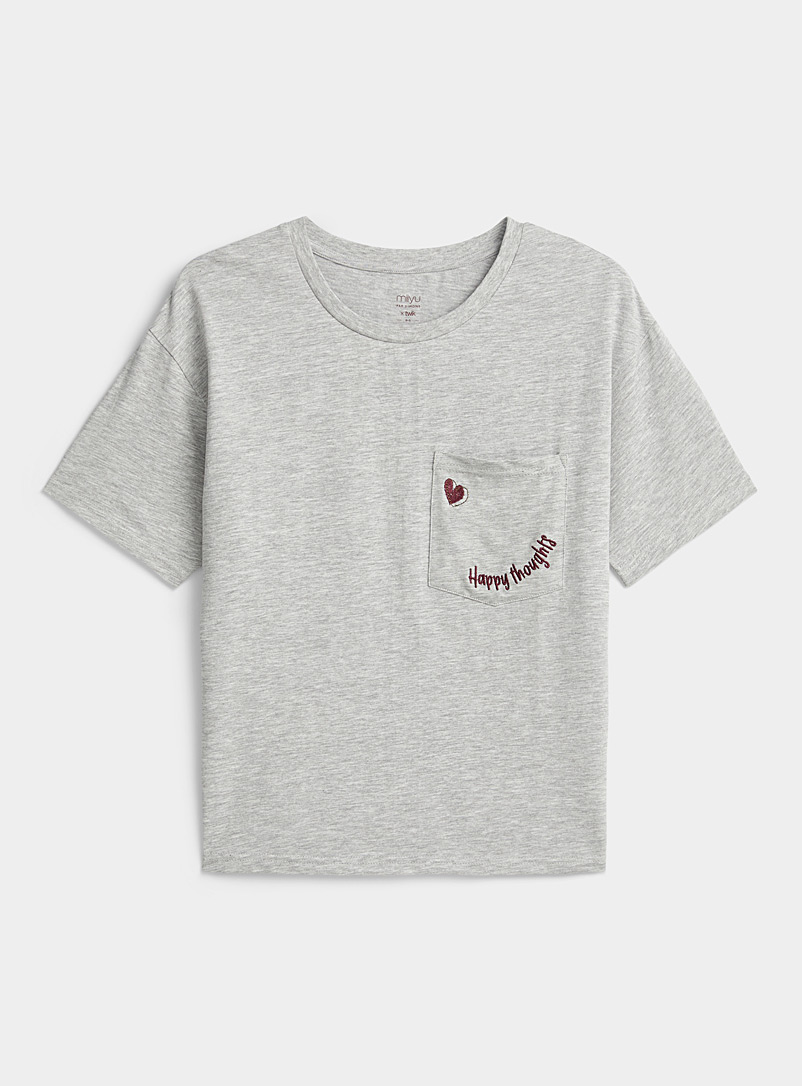 Miiyu x Twik Grey Organic cotton adorned pocket tee for women