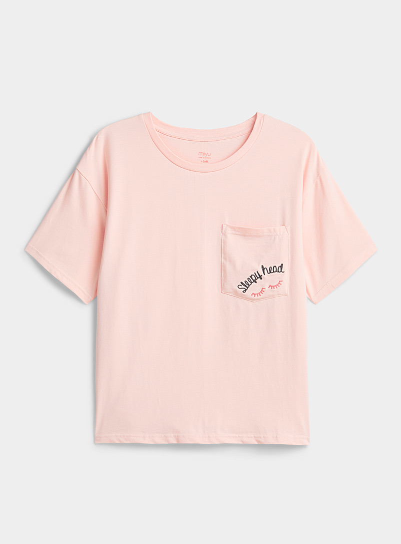 Miiyu x Twik Pink Organic cotton embroidered pocket tee for women