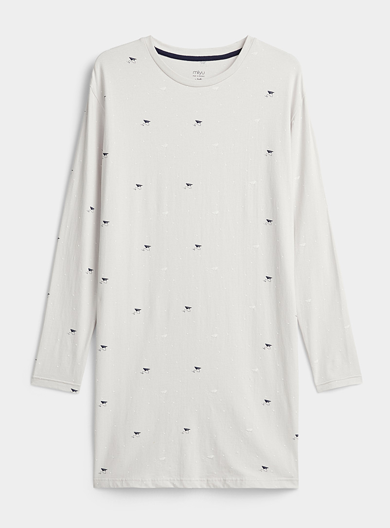 Miiyu x Twik Grey Cute pattern organic cotton nightgown for women