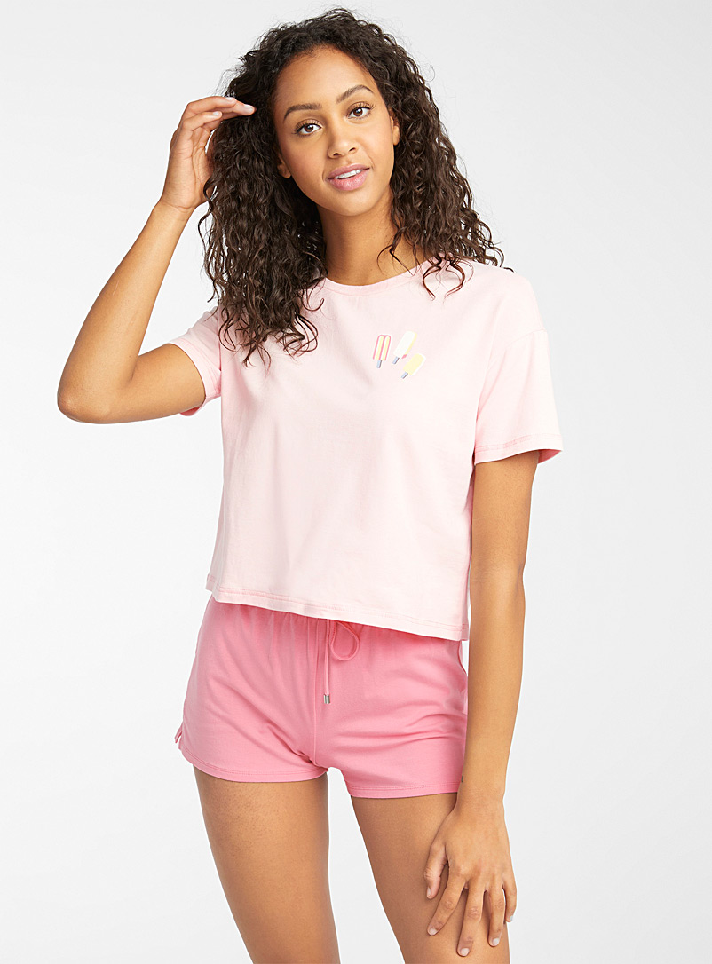 Miiyu x Twik Pink Vacation-print organic cotton T-shirt for women