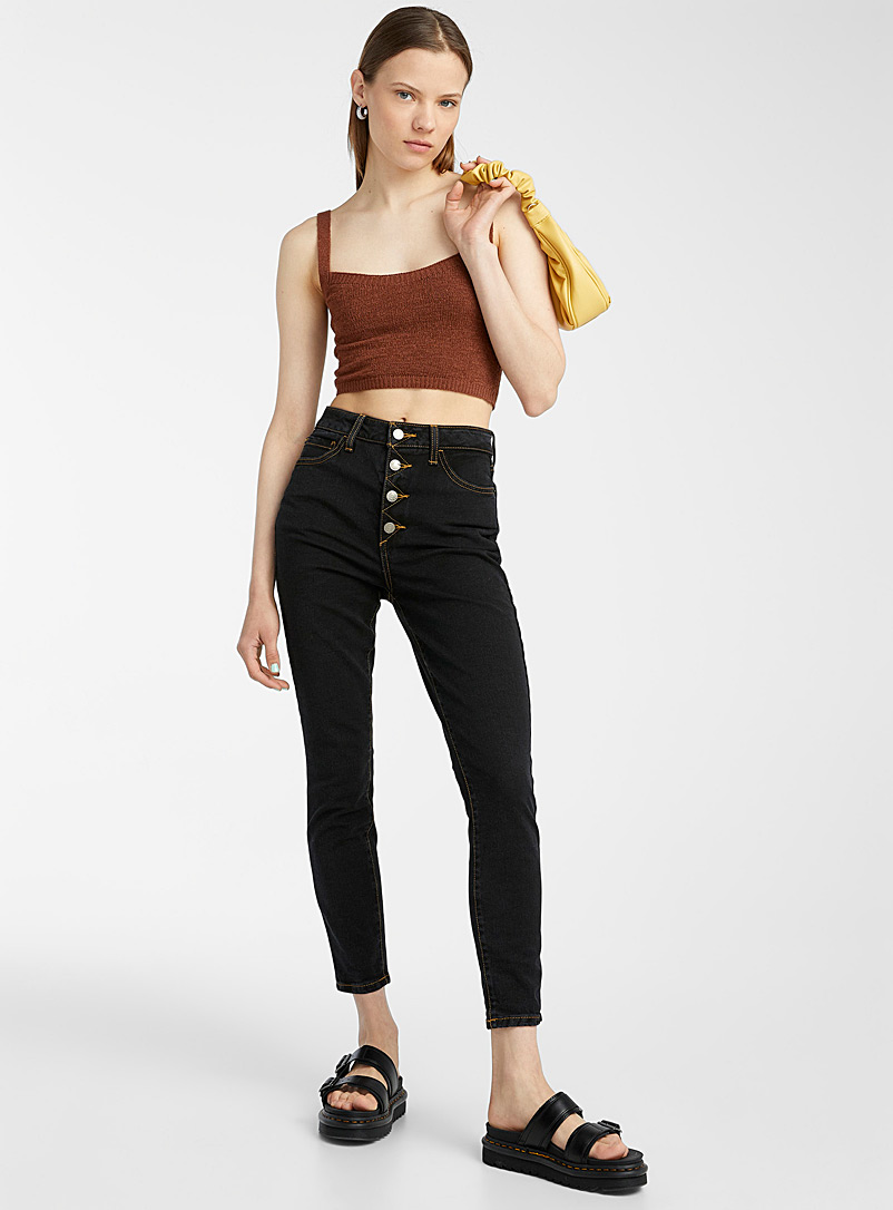 Accent button high-rise skinny jean