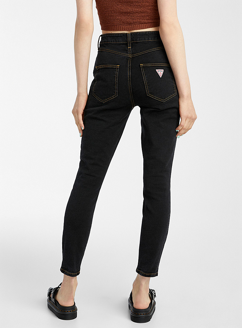 Guess Black Accent button high-rise skinny jean for women
