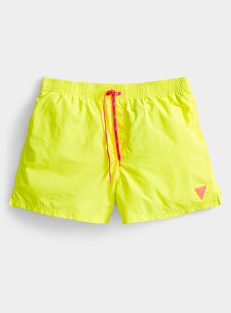 Guess Bright Yellow Crackled swim trunk for men