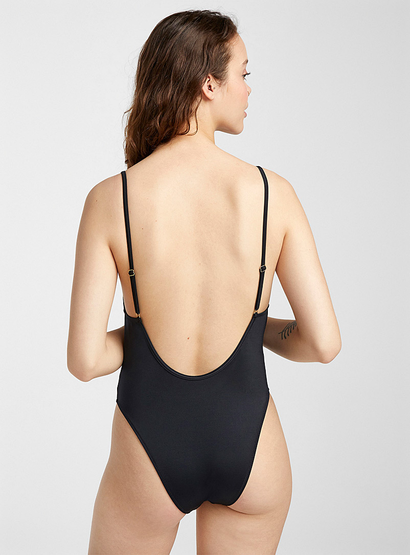 Guess Black Logo scoop-back one-piece for women