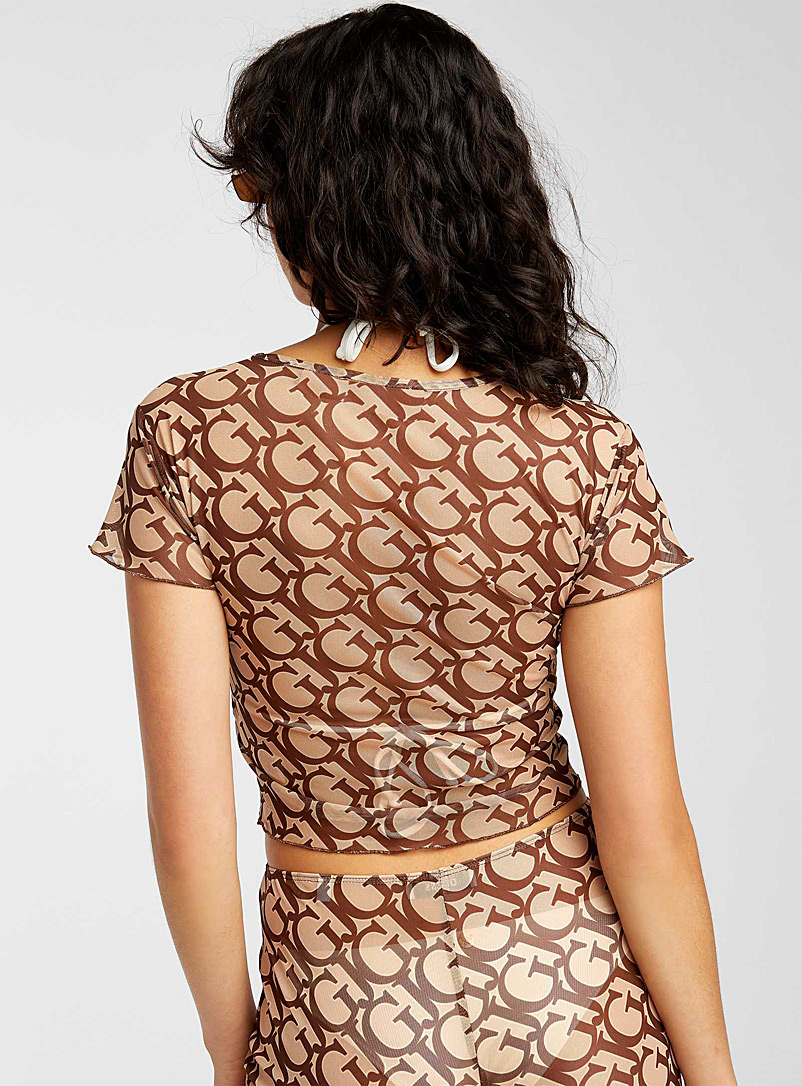 Guess Patterned Brown Monogrammed sheer cropped tee for women