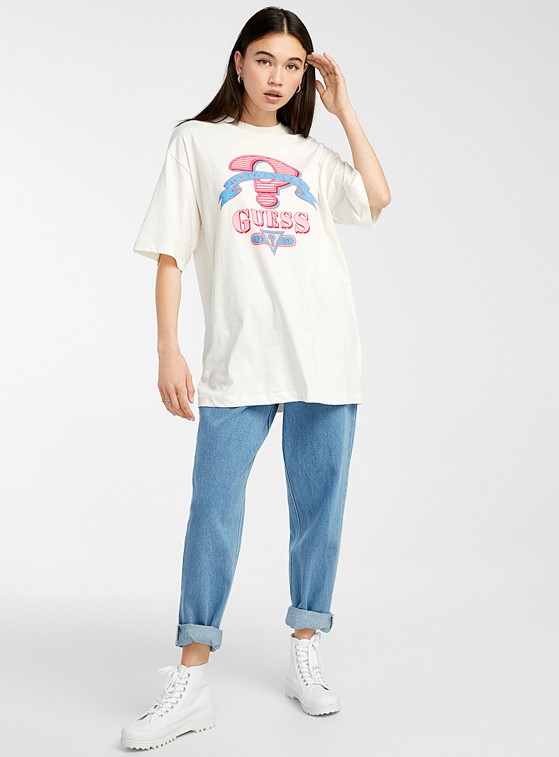 Guess Ivory White Crackled retro-logo T-shirt for women